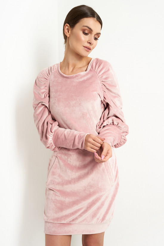 Velor dress with puffed sleeves powder pink