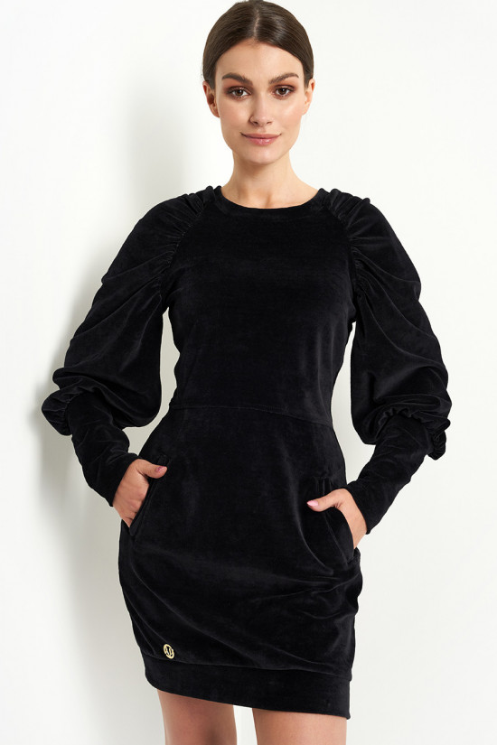 Velor dress with puffed sleeves black