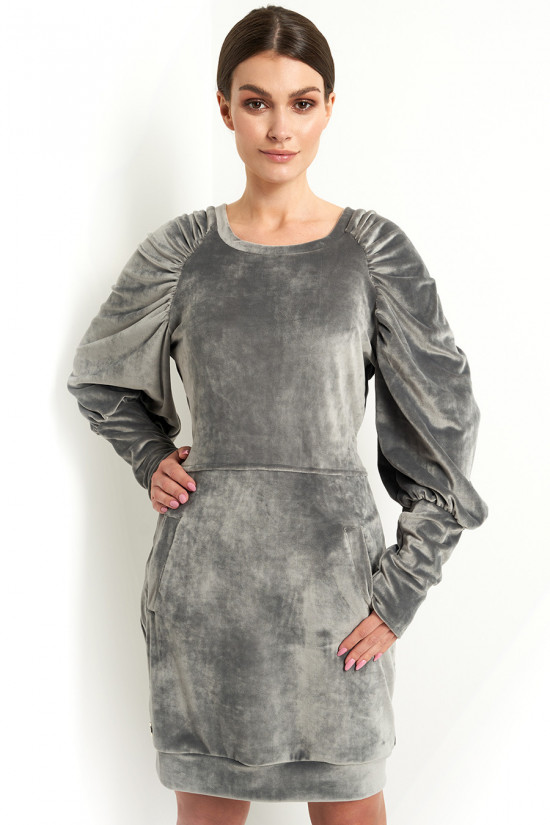 Velor dress with puffed sleeves graphite