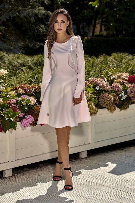 Classic claret dress with long sleeves powder pink