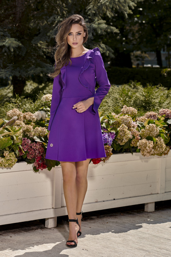 Classic claret dress with long sleeves violet