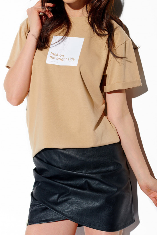 T-shirt Look on the bright side beige 1