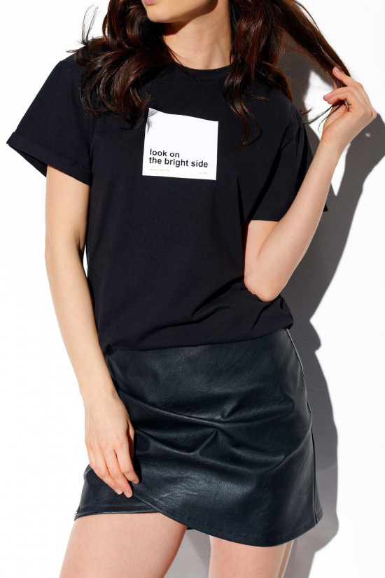 T-shirt Look on the bright side black 2